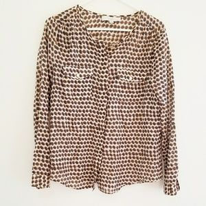 LOFT Ann Taylor Silk Blend Patterned Blouse Size S